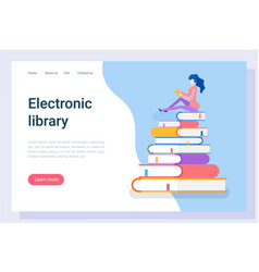 electronic library student reading books website vector image