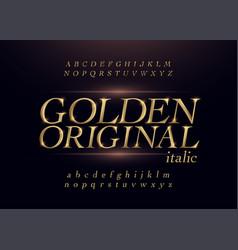 elegant gold colored metal chrome alphabet italic vector image