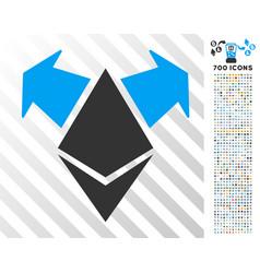 Ethereum spend arrows flat icon with bonus vector