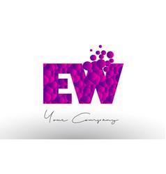 Ew e w dots letter logo with purple bubbles vector