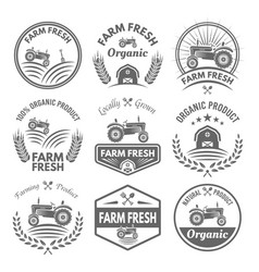 Farm fresh product labels and emblems vector