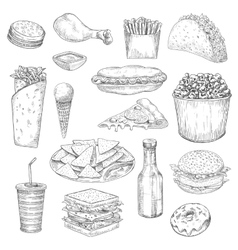 Fast Food snacks and drinks sketch icons vector image