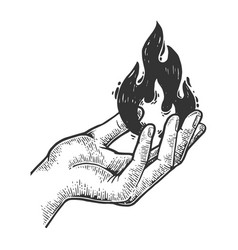 fire in hand engraving vector image