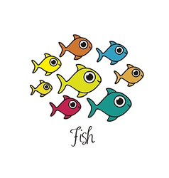 Fish drawings aquatic animals vector