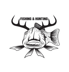 fishing and hunting funny with horned fish vector image