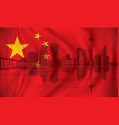 Flag of china with macau skyline vector
