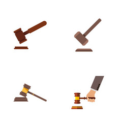 flat icon court set of tribunal justice court vector image