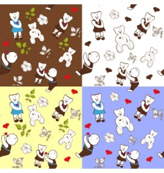 Four seamless patterns with bears vector