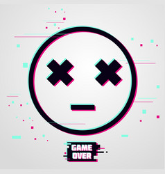 Game over background emoticon with glitch vector