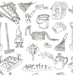 Garden tools seamless pattern Various equipment vector image