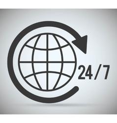 Global sphere arrow time call center icon vector