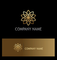 gold flower beauty luxury geometry logo vector image