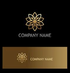 Gold flower beauty luxury geometry logo vector