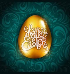 gold foil happy easter greeting golden egg card vector image