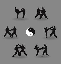 Group of men karate demonstrate vector
