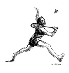 Hand sketch woman playing badminton vector image