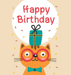 Happy birthday card with cat in glasses and gift vector