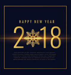 happy new year 2018 text written in golden style vector image