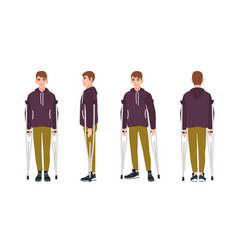 happy young man standing or walking with crutches vector image