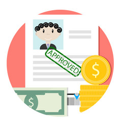 icon of approved loan or credit vector image