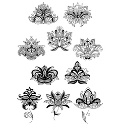 Indian stylized black paisley flowers set vector
