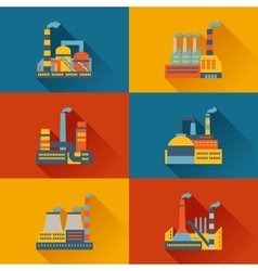 Industrial factory buildings in flat design style vector