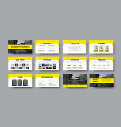 Infographic presentation with yellow elements vector