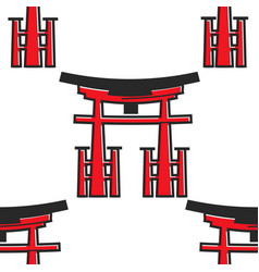 japanese symbol torii gate architecture oriental vector image