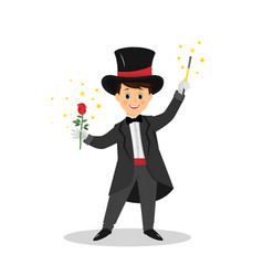 Magician with hat and magic wand vector
