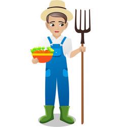 Male farmer holding fork and vegetable vector