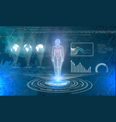 man hologram on futuristic technology background vector image