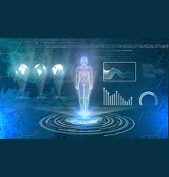 Man hologram on futuristic technology background vector