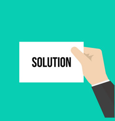 man showing paper solution text vector image