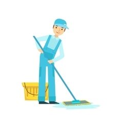Man With Bucket nd Mop Washing The Floor Cleaning vector