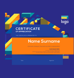 modern certificate completion template with vector image