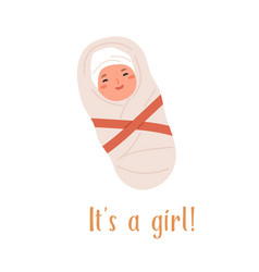 new born baby girl swaddled in blanket with red vector image