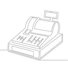 one continuous line drawing cash register vector image
