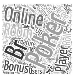 Online poker room text background wordcloud vector