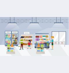 people in supermarket vector image