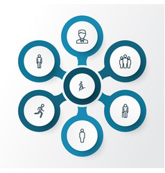 people outline icons set collection of user team vector image