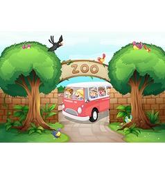 People riding van to zoo vector