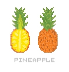 Pixel art game style pineapple isolated vector