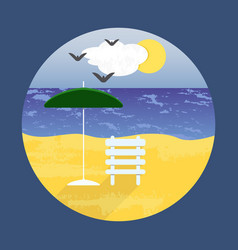 poster with a beach landscape for design vector image