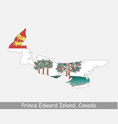 Prince edward island canada map flag vector