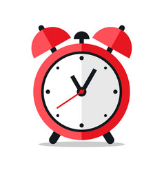 red alarm clock icon design on white background vector image