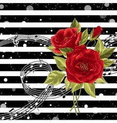 red roses with music notes vector image