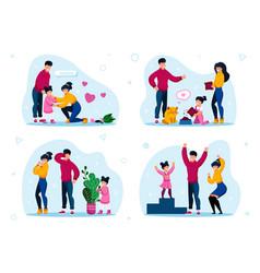 Responsible parenthood flat concepts set vector