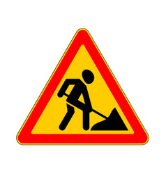 Road sign warning work on white background vector
