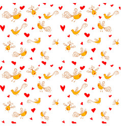 seamless pattern with birds and hearts vector image
