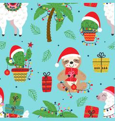 Seamless pattern with christmas slothllama and ca vector